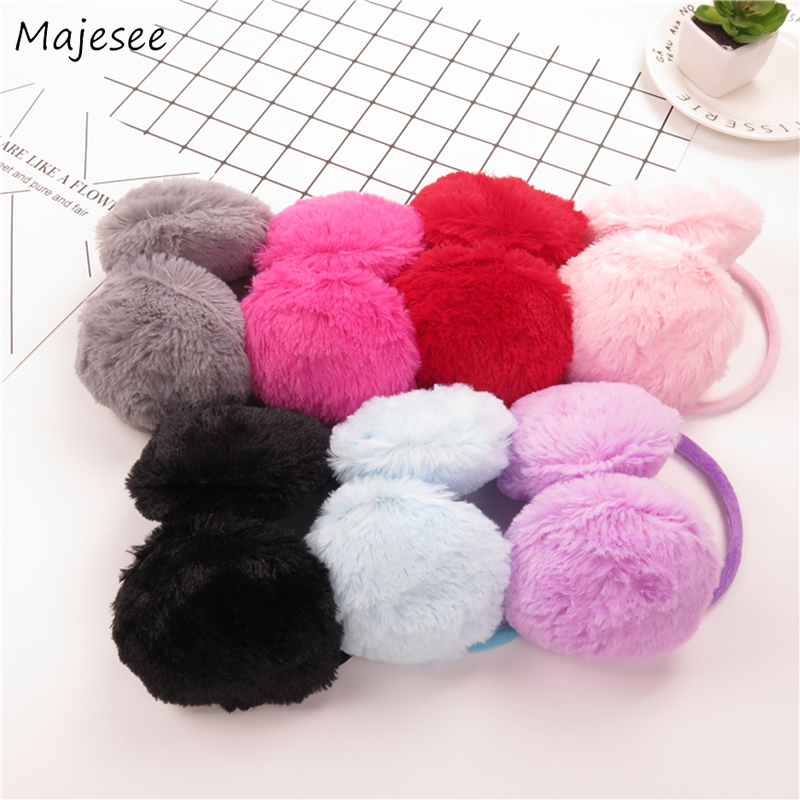 Earmuffs Women Winter Thick Warm Soft Solid Ear Warmers Womens Kawaii Pink Sweet Girls Simple All-match Korean Style Harajuku