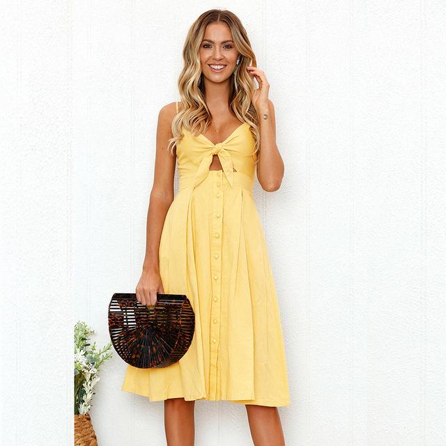 Summer Boho Style Beach Dress Women Sexy Spaghetti Strap V-Neck Sleeveless Solid Long Sundress Bow Vintage Party Dress