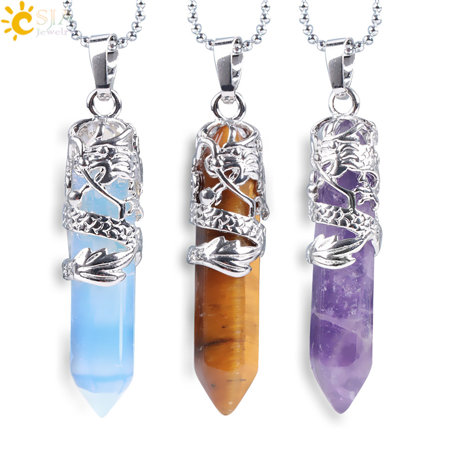 CSJA Dragon Necklace Quartz Necklaces Natural Crystal Stone Hexagonal Prism Ethnic Pendant Hanging Jewelry for Women Men E853(China)