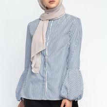 Shirt Blouse Clothing Turkey Caftan-Tops Muslim-Top Islamic Long-Sleeve Women Arab Dubai