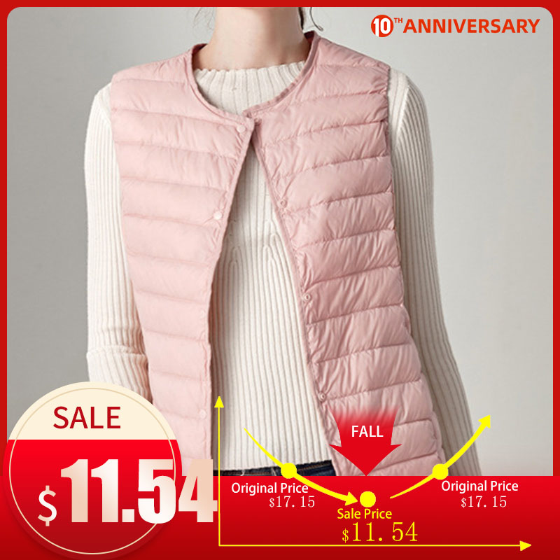 2020 Winter Vest Female Women's Plus Size 4XL Sleeveless Jacket Warm Waistcoat Autumn Lightweight White Duck Down Vests Women