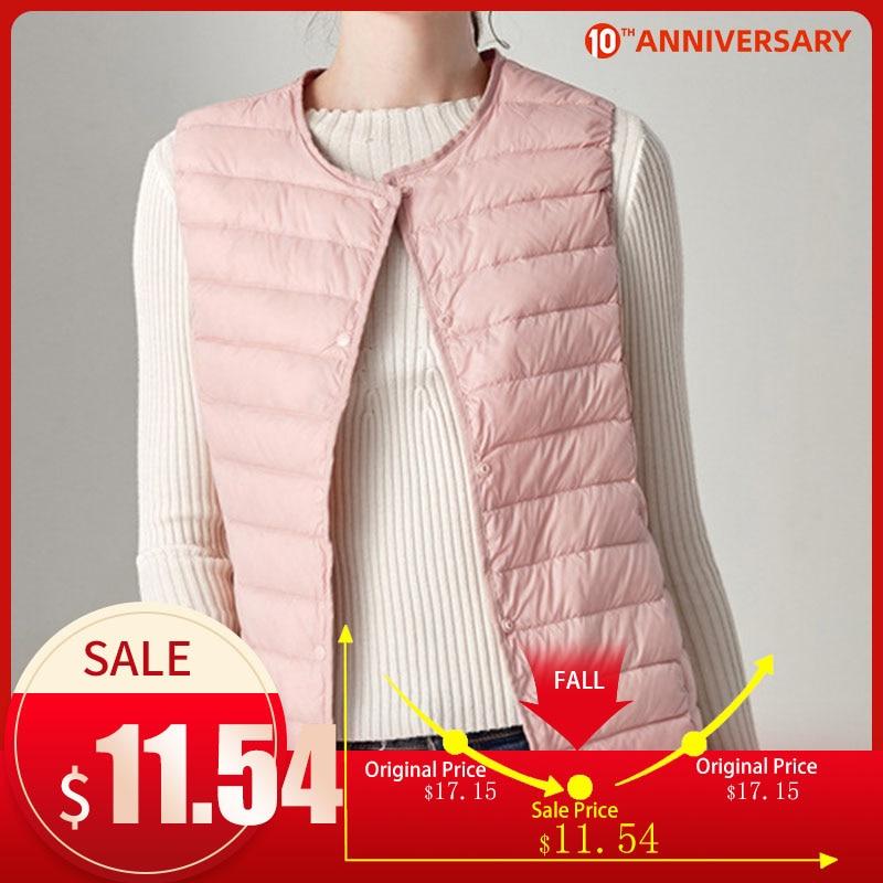 2020 Winter Vest Female Women's Plus Size 4XL Sleeveless Jacket Warm Waistcoat Autumn Lightweight White Duck Down Vests Women