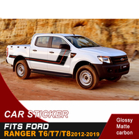 Racing car decals 2 pieces side door stripe vinyl graphics cool car sticker fit for ford ranger T6/T7/T8 2012 2019