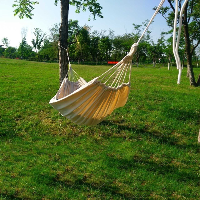 Double Hammock Outdoor Rollover Prevention Camping Canvas Fabric Hammock Hanging Swing Bed for Patio Travel Hiking Dropshipping