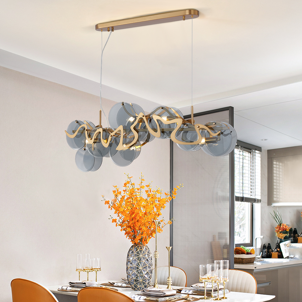 Modern Smoky Gray Glass Chandelier For Living Room Dining Room Rectangle Kitchen Island Indoor Lighting