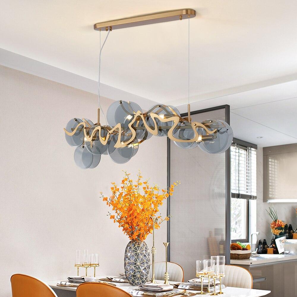 Modern Smoky Gray Glass Chandelier For Living Room Dining Room Rectangle Kitchen Island Indoor Lighting