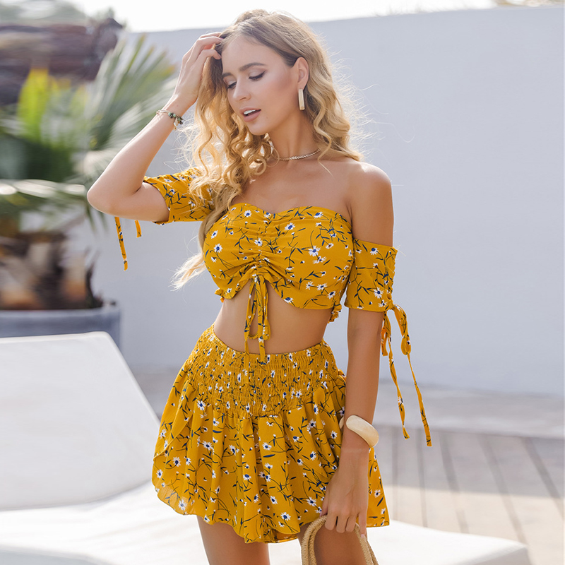 Paris Girl Summer <font><b>Sexy</b></font> Vintage Red Print Strapless Crop Top Suit <font><b>Shorts</b></font> <font><b>2</b></font> <font><b>Piece</b></font> <font><b>Outfits</b></font> for Women Fashion image