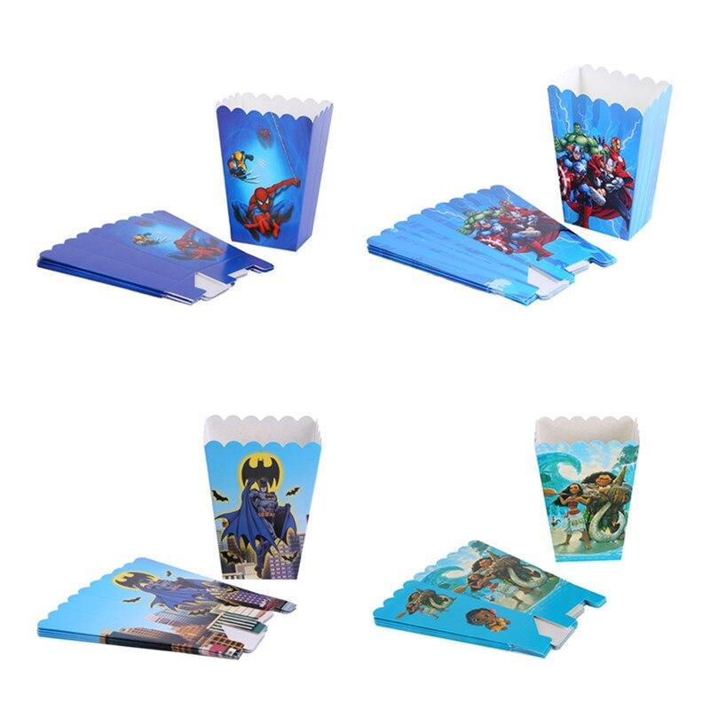 6pcs Cartoon Animal Flamingo High Quality Popcorn Boxes Mario Spiderman Batman Minnie Popcorn Bag Wedding Birthday Party Gifts