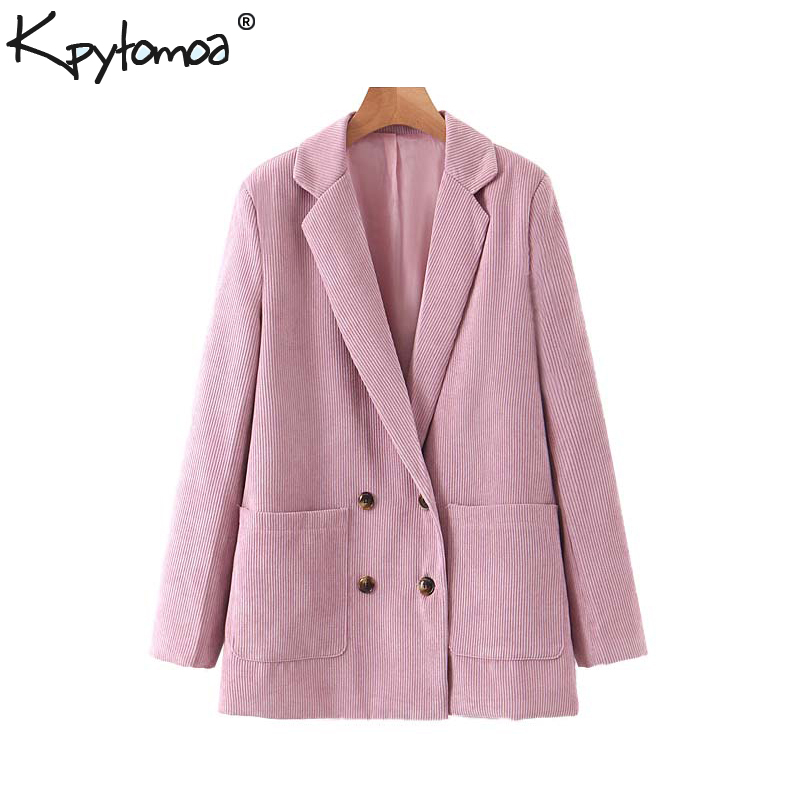 Vintage Stylish Double Breasted Corduroy Blazer Coat Women 2020 Fashion Notched Collar Long Sleeve Pockets Outerwear Chic Tops