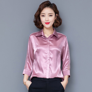 Korean Fashion Silk Women Blouses Satin Office Lady Shirt and Blouse Mesh Pink Long Sleeve Plus Size Womens Tops