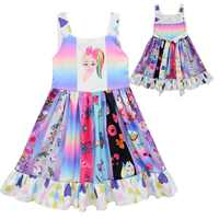 Girl Princess Sleeveless Pattern Twirl Dress Birthday Party Baby Girl Clothes