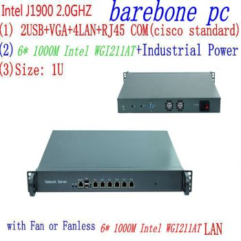 J1900 2.0GHZ 1U Rack Firewall Router Network Server 6*1000M LAN intel WGI211AT  J1900 2.0GHZ Support ROS Mikrotik PFSense 1u j1900 firewall router pfsense router server firewall server with j1900 2 0ghz 4 82583v 1000mbps lans 4 lan