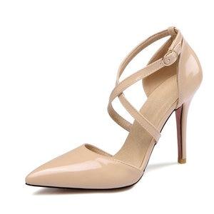 Image 2 - ZawsThia חצה רצועת נעלי נשים משאבות אבזם רצועת סקסי דק גבוהה עקבים שתי חתיכה עקבים מחודדת הבוהן צהוב גבירותיי נעליים 33 47