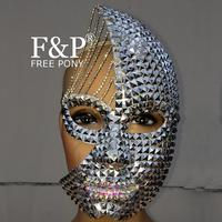 Festival Silver Studded Half Face Moon Lunar Mask Carnival Costume Gogo Dancer Halloween Cosplay Accessories