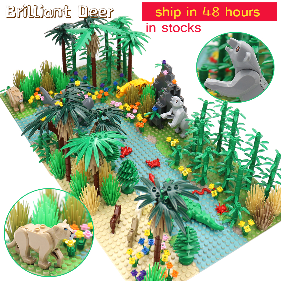 Rainforests Model City Bush Flower Grass Tree With Animals Base Plate DIY MOC Parts Compatible Legoed Friends Building Blocks