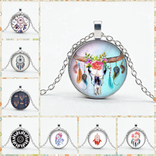 Retro New Color Dream Catcher Necklace Charm Feather Crystal Glass Pendant Ladies Gift