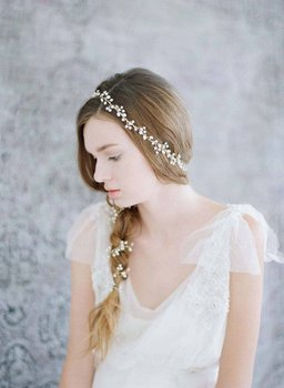 New hot selling hand-made freshwater pearl headwear wedding dress accessories extended curling Headband Bridal Accessories