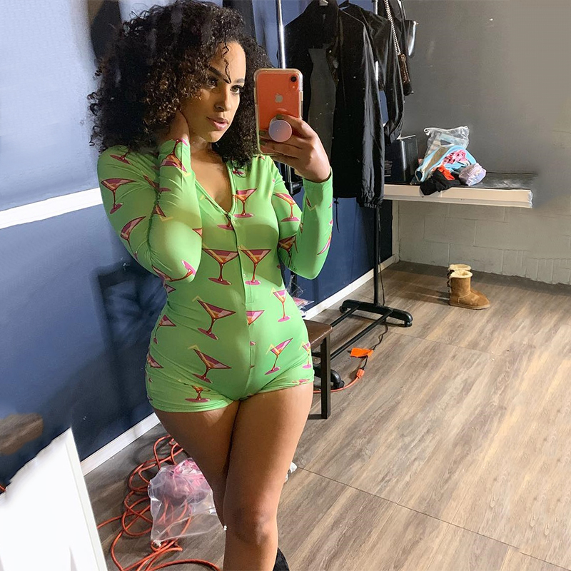 2020 Onesies Adult Long Sleeve V-neck Bodycon Jumpsuits Spring Fashion Green Print Overall Sexy Party Clubwear Outfits Body Suit