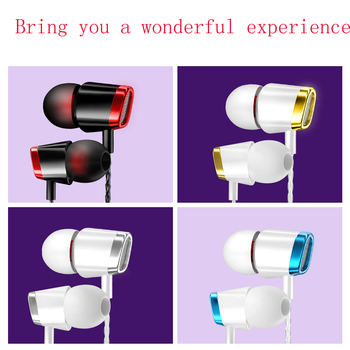 100 pcs Universal 3.5mm metal Headphone Sports music fashion heavy bass earphones Earbud Earpiece For OPPO/Xiaomi/Huawei/VIVO