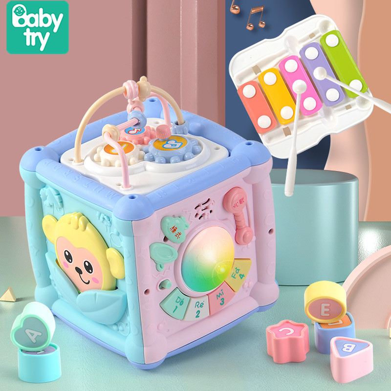 2020 Toddler Polyhedron Juguetes Light Musical Box Puzzles Cube Electronic Baby Educational Toys For Xmas Newborn
