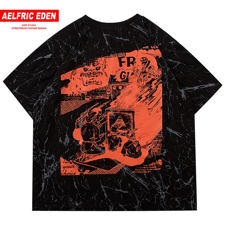Aelfric Eden Family Print Tie Dye T Shirt Mens 2020 Harajuku Short Sleeve Shirts Hip Hop Streetwear Male Casual Cotton Tops Tees