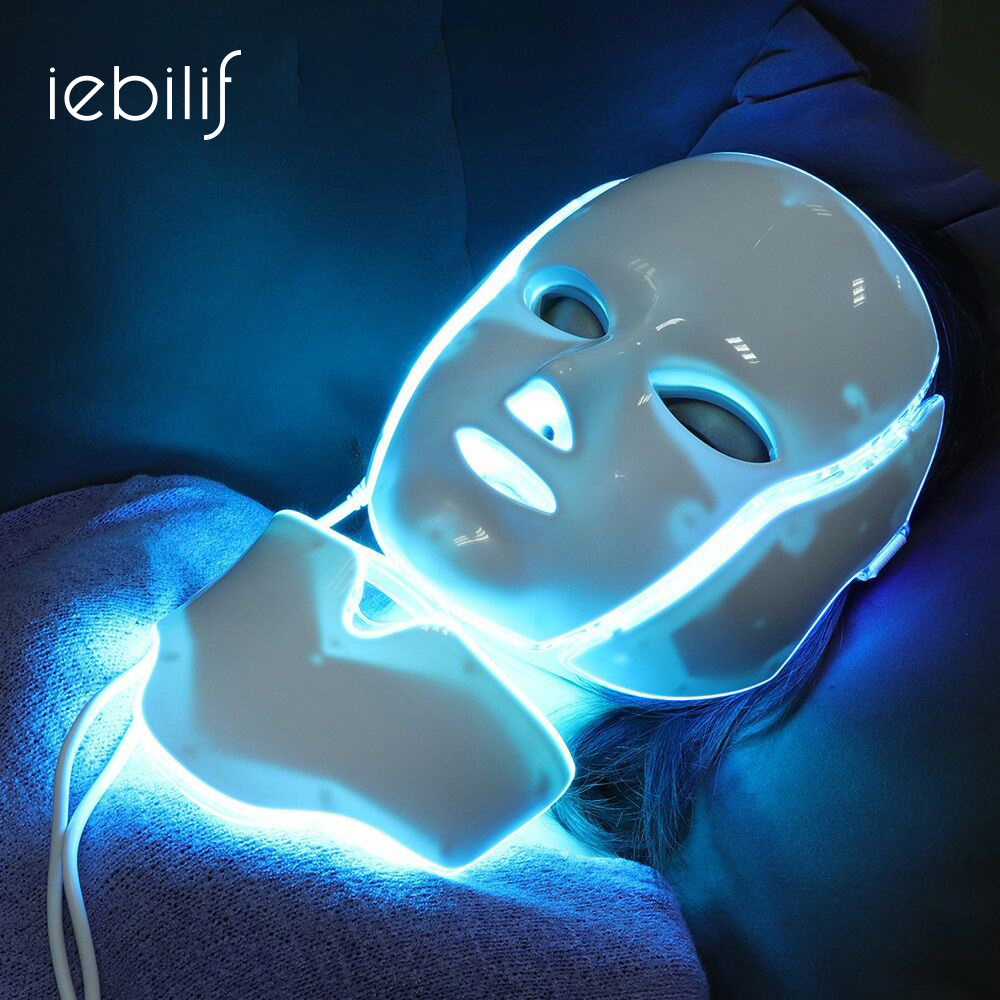Iebilif 7 Colors Photon Electric LED Facial Mask With Neck Skin Rejuvenation Anti Acne Wrinkle Beauty Treatment Salon Home Use