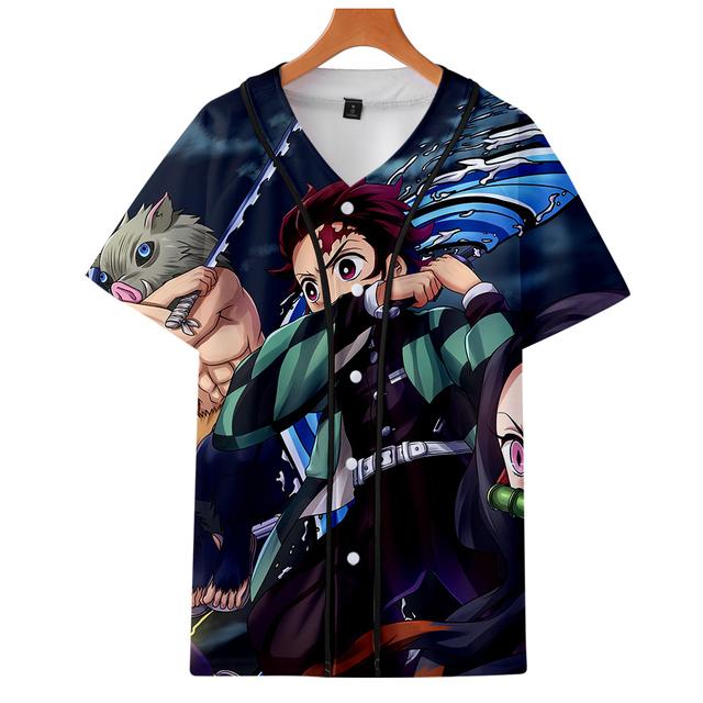 3D Demon Slayer Kimetsu no Yaiba Summer V-neck T Shirt