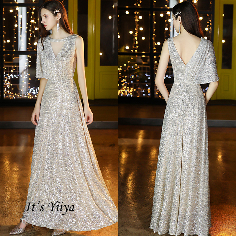It's Yiiya Evening Dress Long O-neck One Sleeve Robe De Soiree 2020 Elegant Plus Size Formal Dresses Sequins Formal Gowns K006