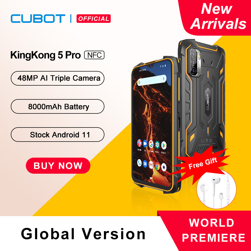 Cubot KingKong 5 Pro Rugged Smartphone 2021 Telefono Resistente IP68/IP69K Impermeabile Antiurto 4+64GB Espandibili Big Batteria 8000mAh 48MP Tripla Fotocamera Global 4G Dual SIM,NFC,GPS, Android 11 OTG cellulare 1