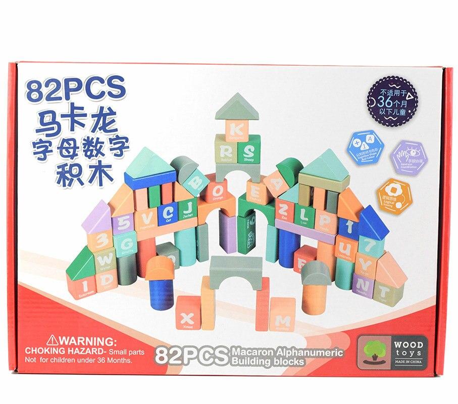 82 pièces Macaron couleurs lettres numérique en bois blocs jouets Éducatifs pour enfants bloc De Construction, Modèles De Construction Jouet Bébé cadeau