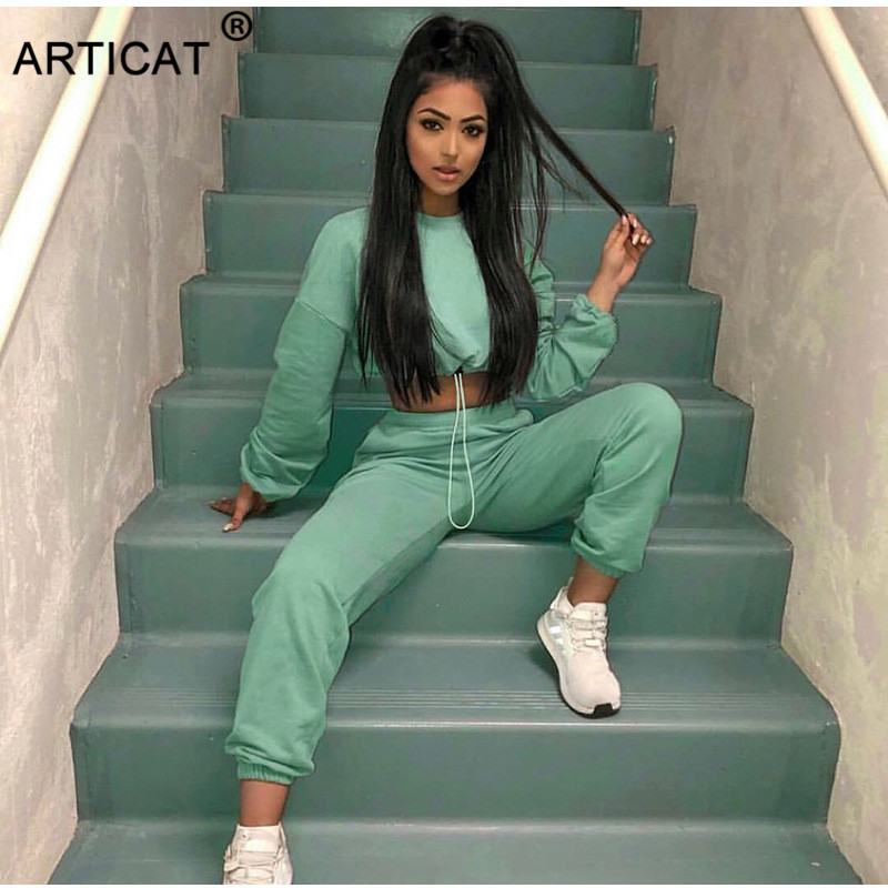 Articat 2020 New Women Two Piece Set Tracksuit Autumn Long Sleeve Pullover Crop Top And Pants Jumpsuits Female Casual Outfits