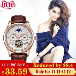 Lige marca feminina relógio automático relógio mecânico tourbillon esporte relógio de couro casual relógio de pulso à prova dwaterproof água relojes mujer + caixa
