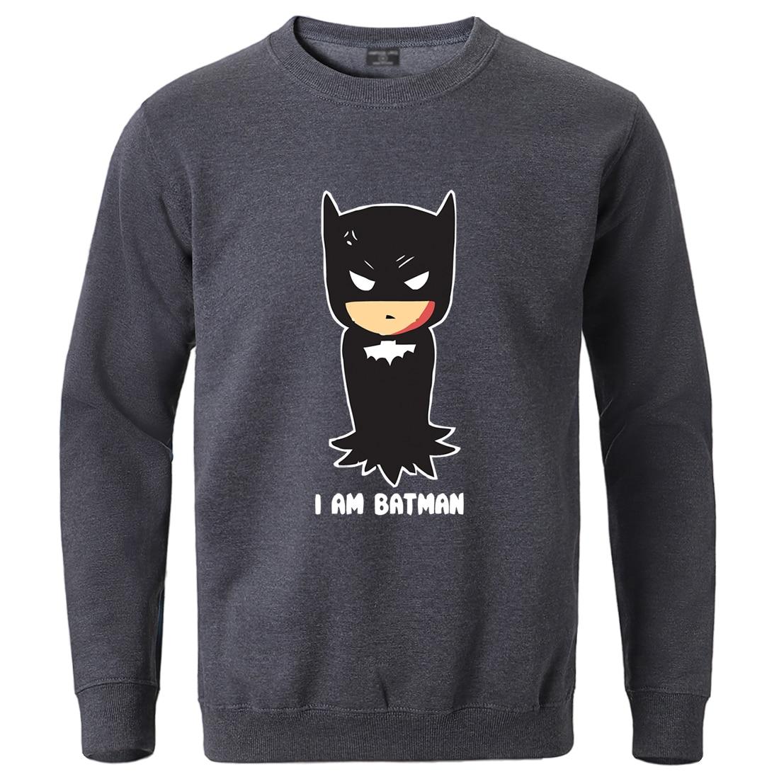 Superman I'm Batman Print Sweatshirts Male Winter Casual Tracksuit Fleece Warm Crewneck Pullover Hip Hop Loose Casual Sportswear