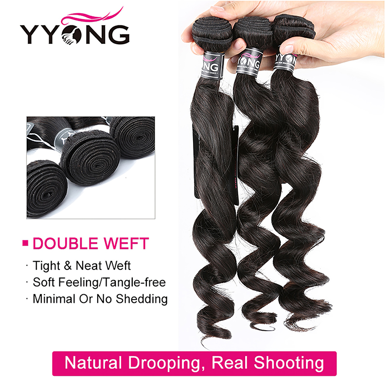 Yyong Hair  Loose Wave 3 Bundles  With Lace Closure 4*4 Lace Closure With Bundles Natural Color  Hair 3