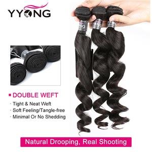 Image 3 - Yyong Hair Peruvian Loose Wave 3 Bundles Human Hair With Lace Closure 4*4 Lace Closure With Bundles Natural Color Remy Hair