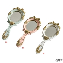 Espejo en forma de rosas de mano estilo Palacio europeo de la vendimia princesa de las mujeres de las muchachas herramienta de maquillaje de tocador Oval con mano antideslizante