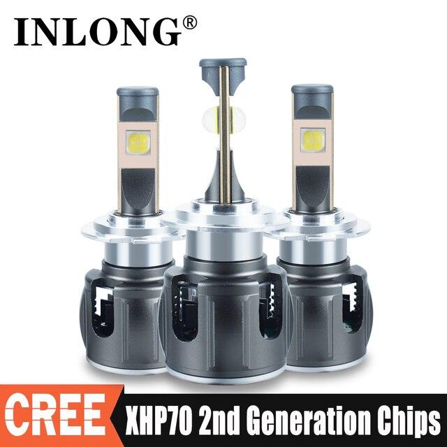 Inlong XHP70.2 H7 ledランパーダcanbus H4車のledヘッドライト電球H1 H8 H11 ledランプ9005 HB3 9006 HB4ヘッドランプオートフォグライト12v