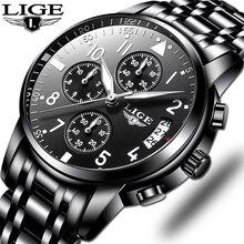 ساعات رجالي مقاوم للماء كوارتز ساعة الأعمال LIGE العلامة التجارية الفاخرة الرجال ساعة رياضية غير رسمية الذكور Relogio Masculino relojes hombre