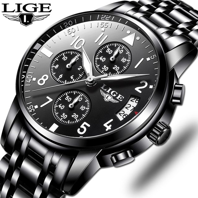 Mens นาฬิกาควอตซ์กันน้ำธุรกิจนาฬิกา LIGE แบรนด์หรูผู้ชาย Casual กีฬานาฬิกาชาย Relogio Masculino relojes hombre