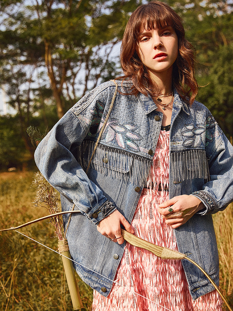 Jeans Jacket Women 2020 Spring High Quality Heavy Industry Embroidered Beading  Wild Loose Comfortable Casual Denim Jacket Coats