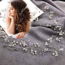 Tiaras de cabelo de pérolas, imitação de pérolas e cristal 35cm para cabelo, acessórios para casamento, joias