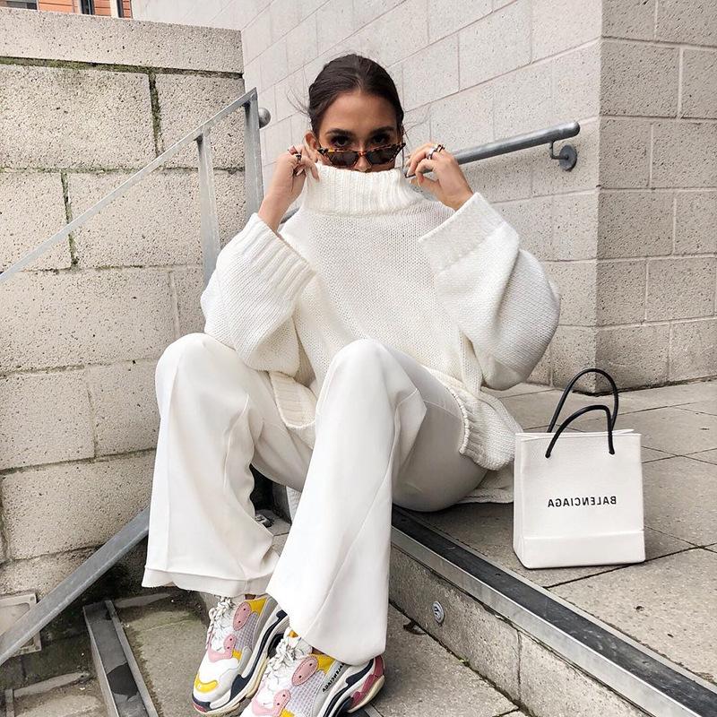 Autumn Winter 2019 Knitwear Pullover Sweater Women White Oversized Jumper Fashion Casual Turtleneck Basic Sweaters 12