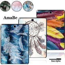 Pola Bulu Case untuk Samsung Galaxy Tab T550 T555 SM-T550 SM-T555 9.7 Inch -Tablet Case Plastik Keras Shell case Cover(China)
