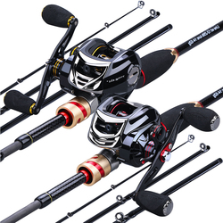 Sougayilang 4 Sections Fishing Rod 1.8m 2.1m Carbon Casting Rod and Baitcasting Reel Combo Lure Rod Fishing Tackle Set Kit Pesca