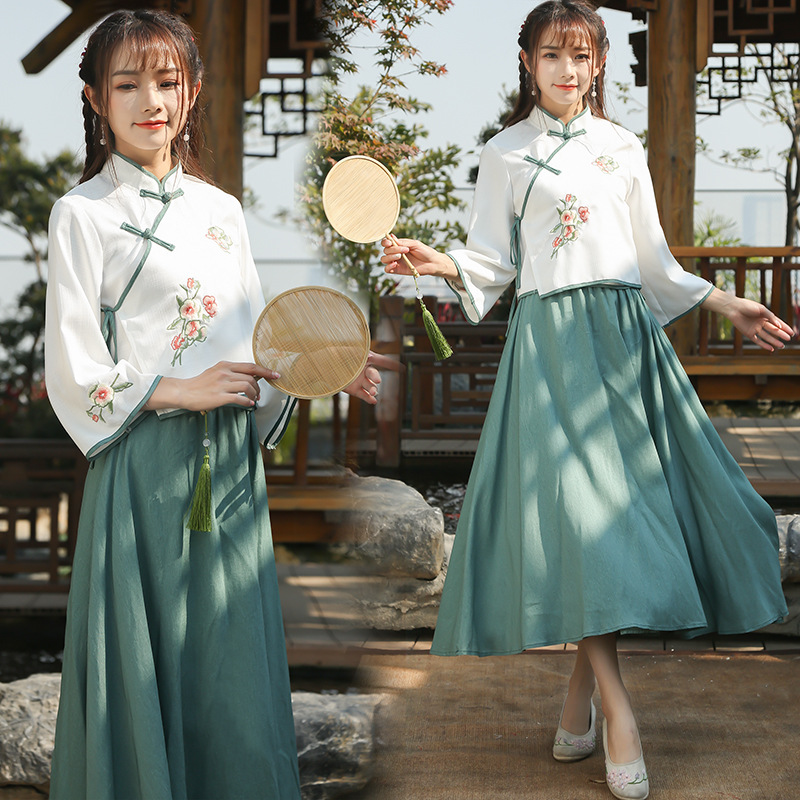2019 Spring And Summer New Style Stand Collar Base Shirt Three-quarter-length Sleeve Retro Cheongsam Slim Fit Skirt Two-Piece Se