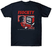 Camiseta FSOCIETY nuestra democracia ha sido cortada HACKER VENDETTA máscara ANONYMOUS Novelty Cool Tops hombres Camiseta de manga corta 2018(China)