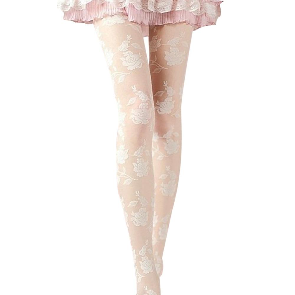 Women Tights Seductive Beige Pattern Roses Flowers 20 den Pantyhose Size T175