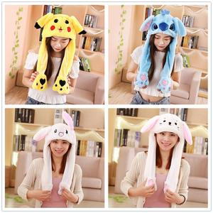 Rabbit Hat Moving Ears Cute Cartoon Toy Hat Airbag Kawaii Funny Toy Cap Kids Plush Toy Birthday Gift Hat for Girls(China)