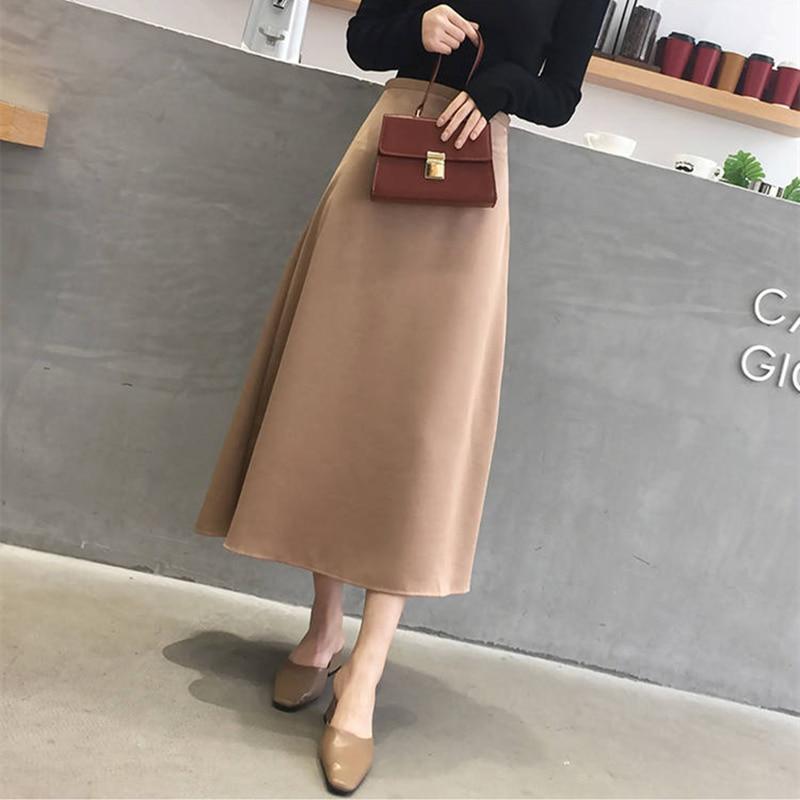 Korean Casual Skirts Women Silk Skirt Women Elegant Women Satin Office Lady High Waist Bodycon Skirt Faldas Mujer Moda