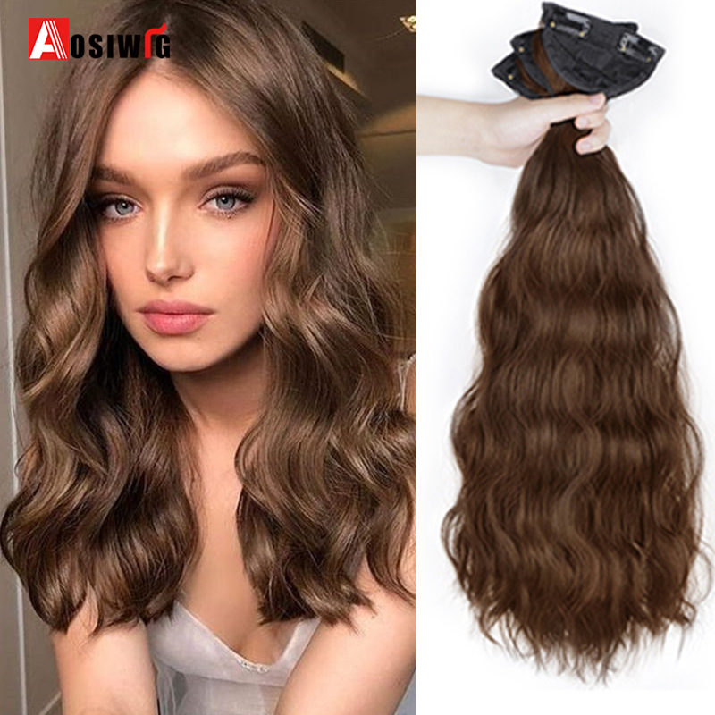 """AOSI 16"""" 18"""" 20"""" Synthetic Black Brown Long Water Wave Bulk 2 Clip In Hair Extensions Hairpiece for Women False Natural Hair"""